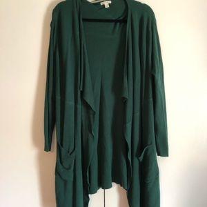 Cato 22/24W Green sweater ribbed shrug